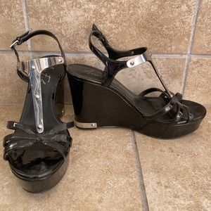 Marc fisher black plated wedges